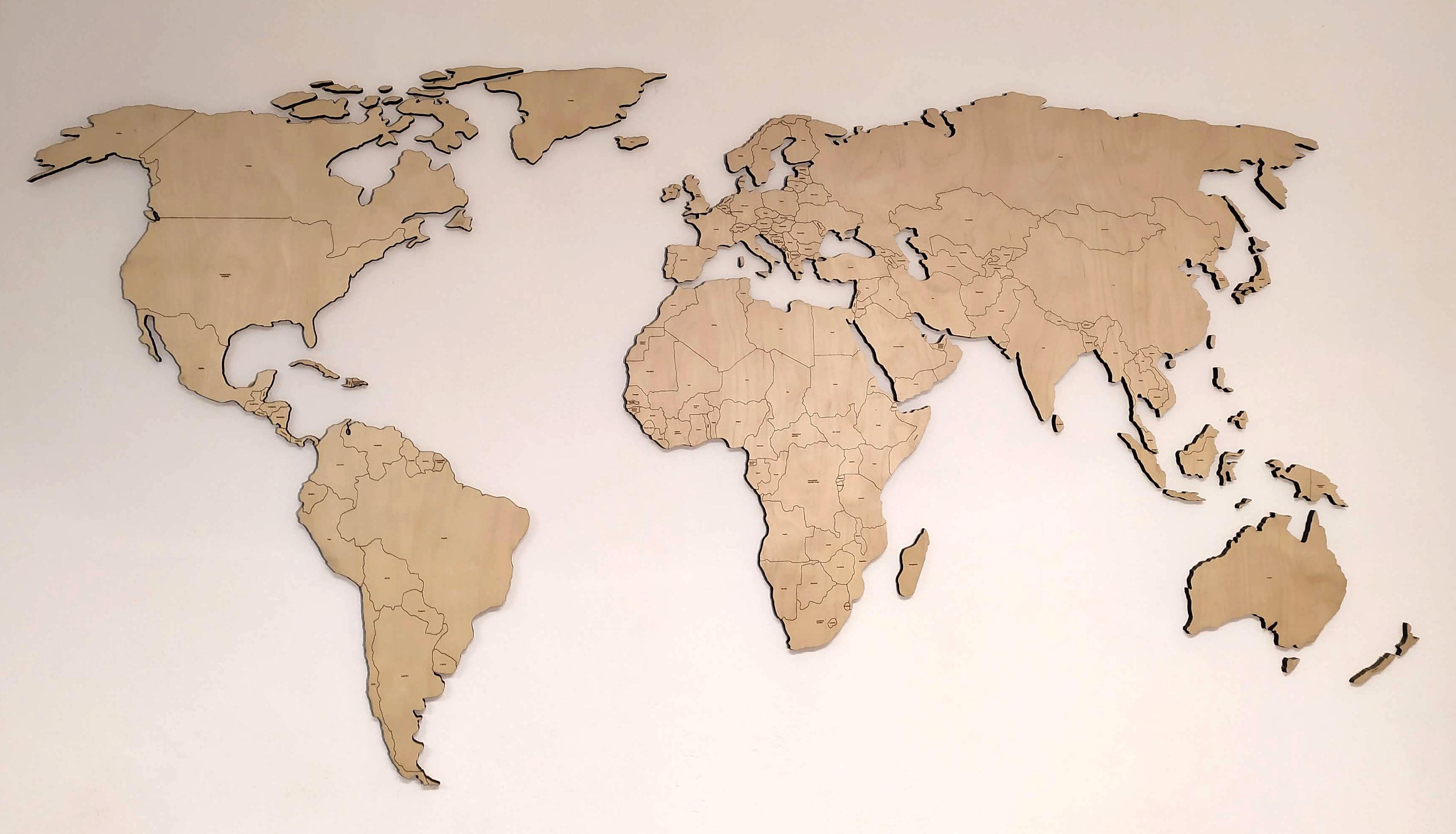 Dřevěný obraz - MAPA SVĚTA